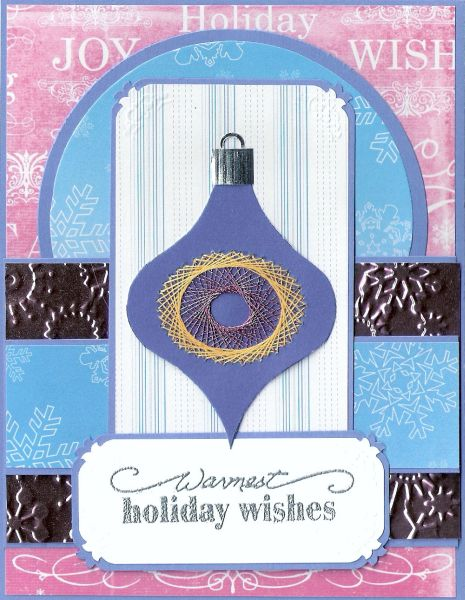 Embroidered Blue Ornament on Layered Background