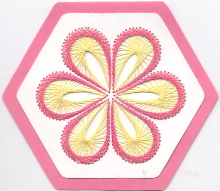 Pink and Yellow Stitched Flower