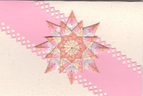 Pink Triple Star Tea Bag Fold Card