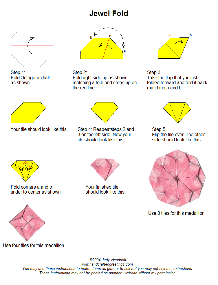 instructions for folding octagon tiles